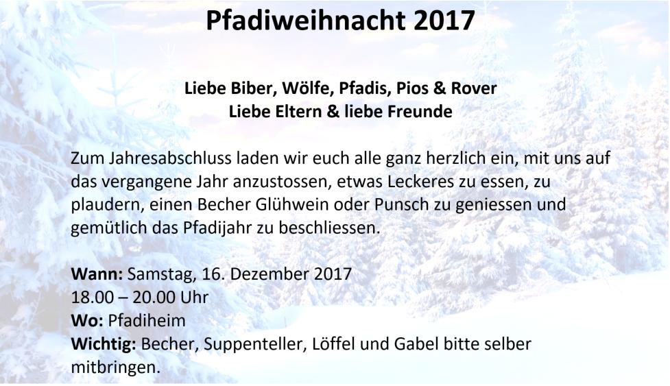 Pfadiweihnacht 2017